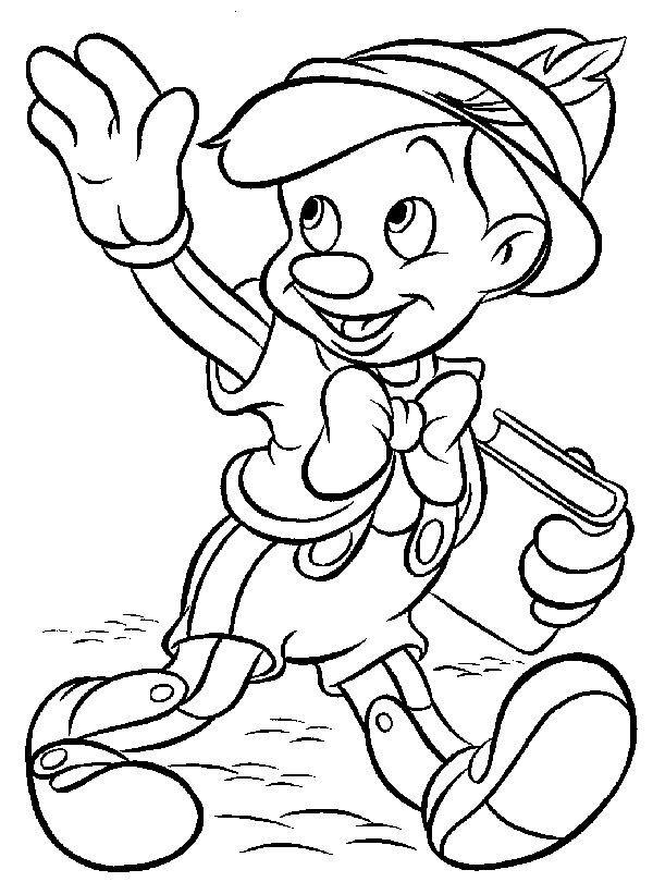 Dibujo De Pinocho Llendo Al Colegio Para Imprimir