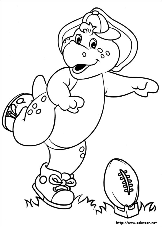 Dibujo Para Colorear De Barney Jugando