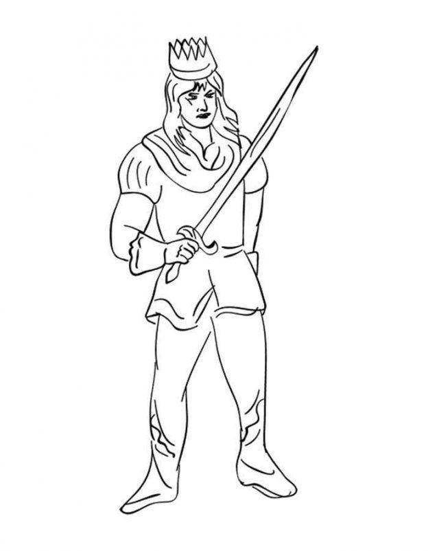 Dibujo Para Colorear De Principe Y Su Espada