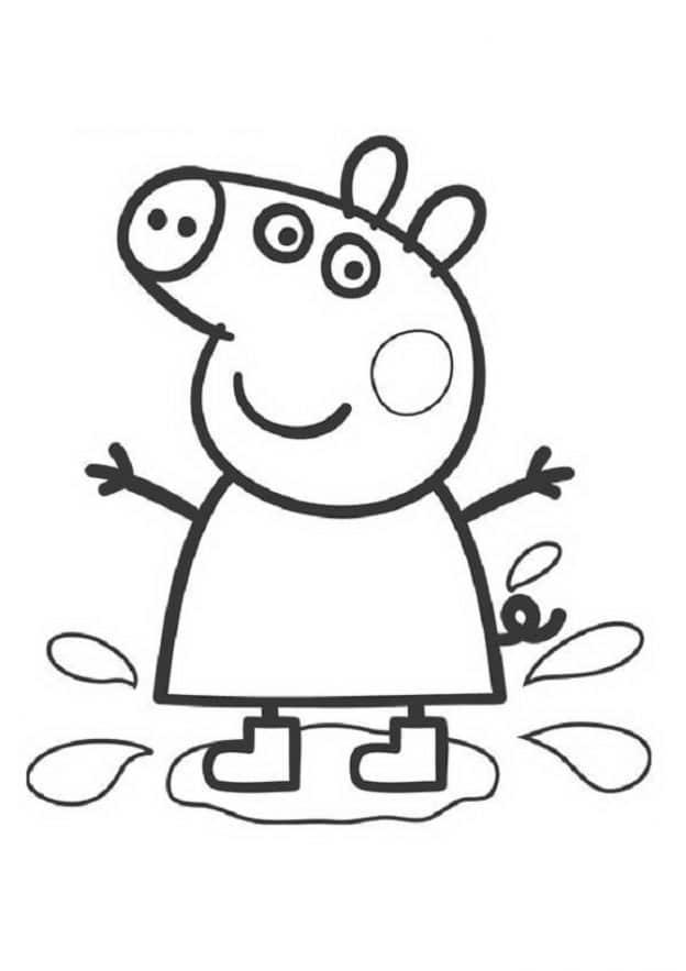 Dibujo Para Pintar De Peppa Pig Pisando Charco