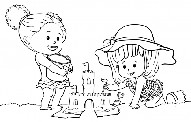 Dibujos De Bebes Jugando En La Playa