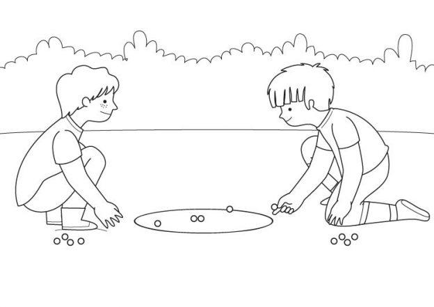 Dibujos Para Colorear De Juegos Niños Jugando Canicas