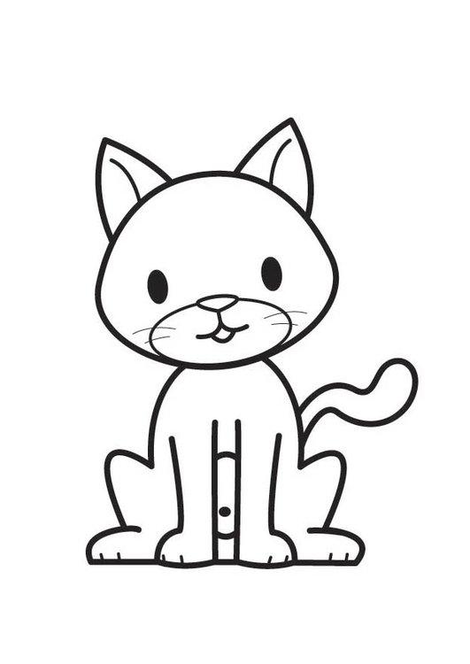 Gato Parado Para Colorear